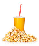 Popcorn and fast food drink Stock Photos