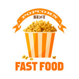 Popcorn fast food snack vector isolated icon Royalty Free Stock Photo