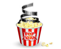 Popcorn and film. Vector: a bucket of popcorn and film stock illustration