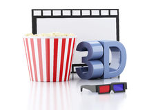 Popcorn, film reel and 3d glasses. 3d illustration Royalty Free Stock Image