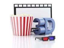 Popcorn, film reel and 3d glasses. 3d illustration. Image of  popcorn, film reel and 3d glasses. cinematography concept. 3d illustration Royalty Free Stock Image