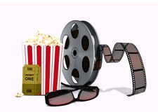 Popcorn with film reel and 3d glasses Stock Image