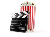 Popcorn with film slate. On white background Stock Images