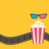 Popcorn. Film strip border. 3D glasses Red striped box. Cinema movie night icon in flat design style. Yellow background. Vector illustration Stock Photo