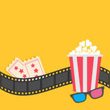 Popcorn. Film strip border. 3D glasses. Tickets. Red striped box. Cinema movie night. Icon in flat design style. Yellow background. Vector illustration Stock Photos