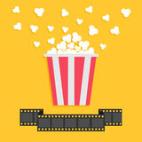Popcorn. Film strip ribbon line. Red yellow box. Cinema movie night icon in flat design style. Stock Image