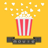 Popcorn. Film strip ribbon. Red yellow box. Cinema movie night icon in flat design style. Royalty Free Stock Photo