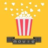 Popcorn. Film strip ribbon. Red yellow box. Cinema movie night icon in flat design style. Vector illustration vector illustration