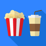 Popcorn and fizzy drink Stock Photos