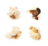 Popcorn flake isolated. Cooked popcorn flake isolated over the white background, set of four different foreshortenings Stock Photo