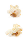 Popcorn flake isolated. Cooked popcorn flake isolated over the white background, set of two different foreshortenings Stock Images