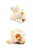 Popcorn flake isolated. Cooked popcorn flake isolated over the white background, set of two different foreshortenings Royalty Free Stock Photo