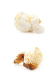 Popcorn flake isolated. Cooked popcorn flake isolated over the white background, set of two different foreshortenings Stock Photos