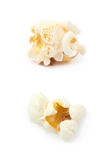 Popcorn flake isolated. Cooked popcorn flake isolated over the white background, set of two different foreshortenings Stock Photo