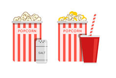 Popcorn food vector illustration. Popcorn in bucket. Big popcorn Stock Photography