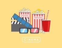 Popcorn food vector illustration. Popcorn in bucket. Big popcorn Stock Image