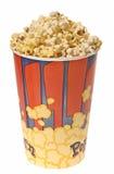Popcorn in geïsoleerd glas Stock Foto