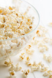 Popcorn in glass bowl. Royalty Free Stock Photography