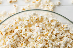 Popcorn in glass bowl. Royalty Free Stock Image