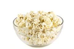 Popcorn in glass bowl. Stock Photo
