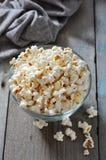 Popcorn in glass bowl Stock Image