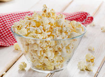 Popcorn in glass bowl Stock Photos