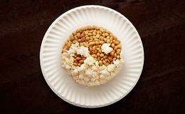 Popcorn and groundnut, Nigerian yin yang Royalty Free Stock Photo