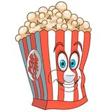 Cartoon popcorn bucket. Popcorn. Happy Fast Food concept. Funny Emoticon. Smiley idea. Emoji cartoon design for kids coloring book, colouring page, t-shirt print stock illustration