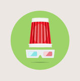 Popcorn hat and glasses flat design vector Royalty Free Stock Photo