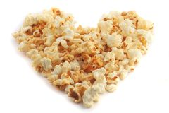 Popcorn heart stock photography
