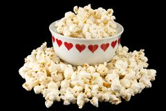 Popcorn in a heart bowl Stock Image
