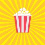 Popcorn Het pictogram van de bioskoopfilm in vlakke ontwerpstijl Starburst vawe achtergrond Royalty-vrije Stock Afbeeldingen