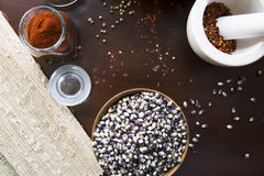 Popcorn and Hot Spices royalty free stock photo