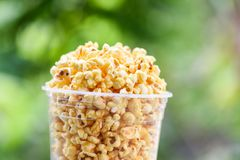 Popcorn i popcorn för smör för grön backgroubd för kopp och för natur sött saltar arkivfoto