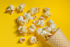 Popcorn in ice cream cones Stock Photos