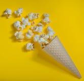 Popcorn in ice cream cones Stock Image