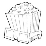 Popcorn icon, outline style. Popcorn icon. Outline illustration of popcorn vector icon for web Royalty Free Stock Image