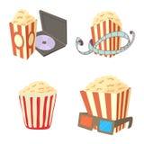Popcorn icon set, cartoon style. Popcorn icon set. Cartoon set of popcorn vector icons for web design isolated on white background Royalty Free Stock Images