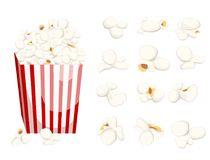 Popcorn icon symbol food cinema movie film flat  stock bowl full of popcorn and paper glass Flat Design Style Fresh cartoon. Different Web site page and mobile Stock Photo