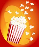 Popcorn icon symbol food cinema movie film flat  stock bowl full of popcorn and paper glass Flat Design Style Fresh cartoon. Different Web site page and mobile Royalty Free Stock Photo