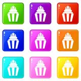 Popcorn icons 9 set. Popcorn icons of 9 color set isolated vector illustration Stock Image