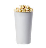 Popcorn isolated in cardboard box on a white Royalty Free Stock Image