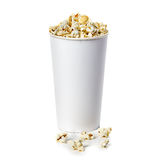 Popcorn isolated in cardboard box on a white Stock Image