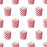 Popcorn is isolated in a strip wrapper box for your produce, an appetizer bucket when you watch movies. Pattern. Background Miniature fast food Vector Stock Photos