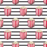 Popcorn is isolated in a strip wrapper box for your produce, an appetizer bucket when you watch movies. Pattern. Background Miniature fast food Vector Royalty Free Stock Images