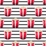 Popcorn is isolated in a strip wrapper box for your produce, an appetizer bucket when you watch movies. Pattern. Background Miniature fast food Vector Royalty Free Stock Image