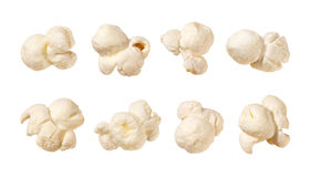 Popcorn isolated on white. Popcorn isolated on a white background. Each shot separately Royalty Free Stock Photo