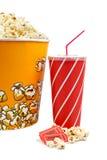 Popcorn, kaartjes en soda Royalty-vrije Stock Fotografie