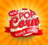 Popcorn label on sunburst background. Popcorn label, symbol or sign on sunburst background. Vector illustration of super snack for your design royalty free illustration