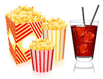 Popcorn and lemonade Stock Images